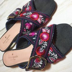Kate Spade Faris Denim Floral Sandals Mules 6.5